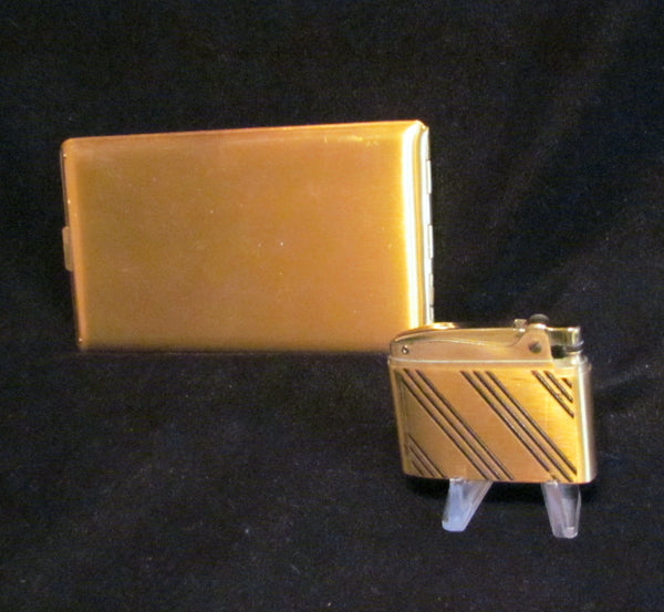Gold Elgin Cigarette Case And Matching Working Lighter Excellent Condition