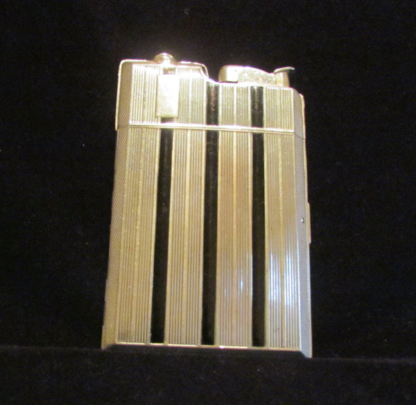 Evans Cigarette Case Lighter Vintage Silver Banner Case Light Art Deco 1940's Working