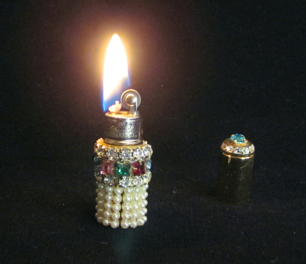 Rhinestone Gold Lighter Ladies Lipstick Style Working Pocket Or Purse Lighter Hy-Glo USA