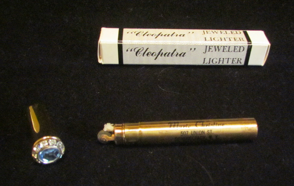 Gold Rhinestone Lighter Ladies Lipstick Lighter Vintage Cleopatra Jeweled Tube Lighter In Original Box