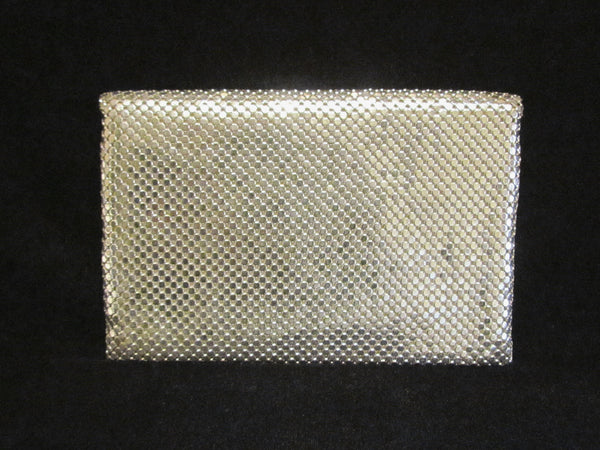 1930s Whiting Davis Silver Mesh Clutch Purse Vintage Envelope Style Formal Purse