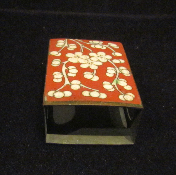 1920s Matchbox Match Holder Cloisonne Vintage Match Safe Enamel & Brass Matchbox Cover