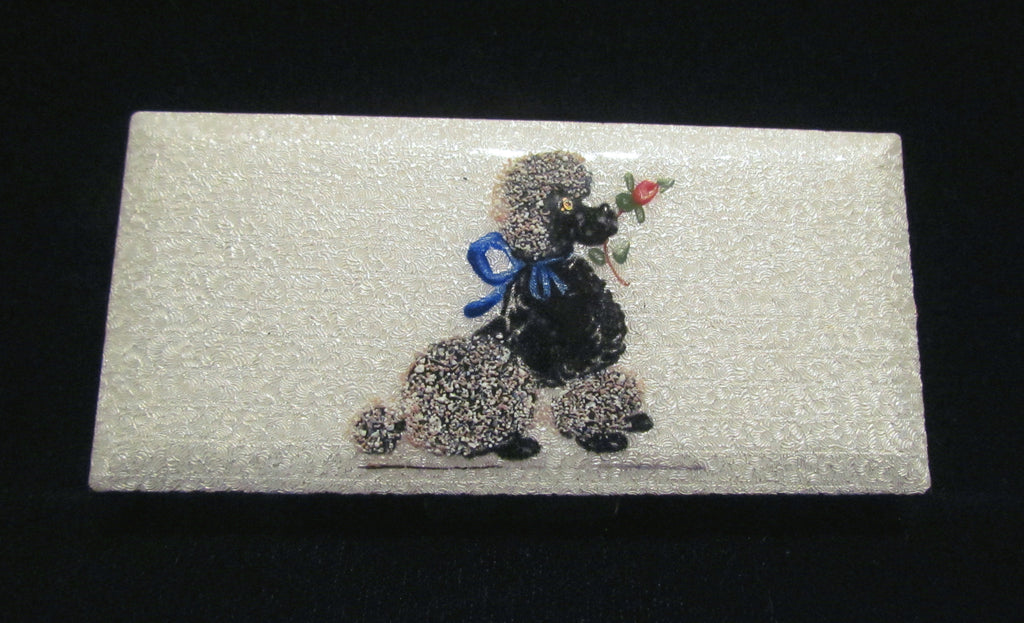 Guilloche Poodle Cigarette Case Vintage Trinket Box 1950s Pill Holder