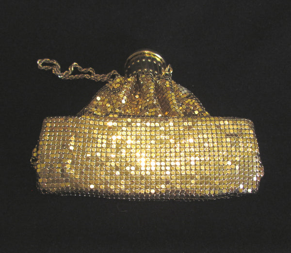 Vintage Gate Top Purse Cleopatra Beggars Bag Accordian Antique Purse Gold Mesh Gatetop Egyptian Lid