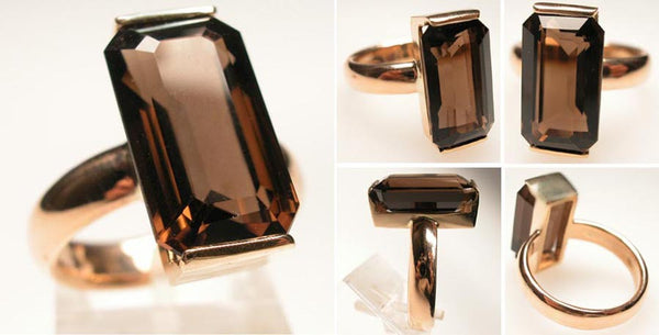 14Kt Gold Ring 13.9ct Smoky Quartz Ring High Fashion Bruce Magnotti Cocktail Ring Fine Jewelry Size 7 3/4