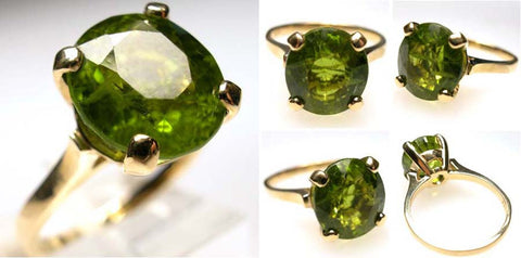 14Kt Gold Peridot Ring 5.85ct Bruce Magnotti Cocktail Ring Fine Jewelry Size 6 1/2