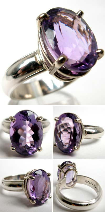 14Kt White Gold Ring 5.90ct Amethyst Ring High Fashion Bruce Magnotti Cocktail Ring Fine Jewelry Size 7 3/4