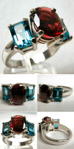 14Kt White Gold 2.70ct Garnet & 2.75ct Blue Topaz Ring High Fashion Bruce Magnotti Cocktail Ring Fine Jewelry Size 6 1/4