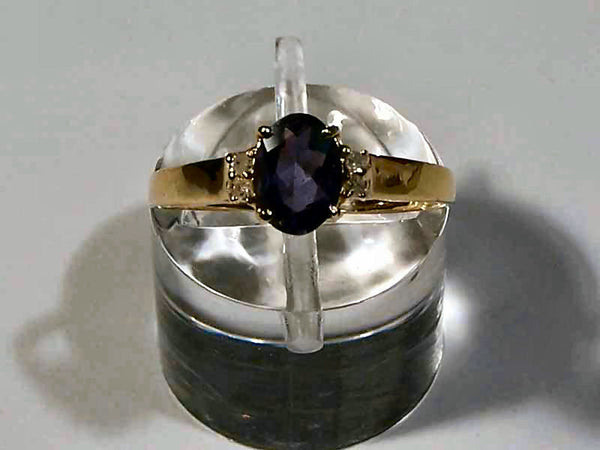 14Kt Gold Iolite Ring 7x5mm Oval Iolite 4 Diamonds Size 7