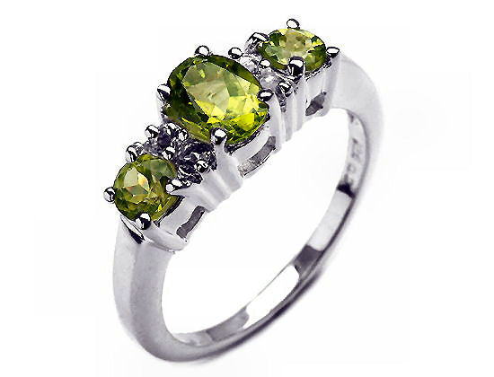 Sterling Silver Peridot Ring 1.55 Carat Oval 2 Round Cut Peridot 4 White Topaz Stone Ring  Size 7 1/2