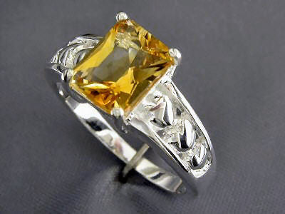 Sterling Silver 2 Carat Citrine Emerald Cut Ring  Size 9