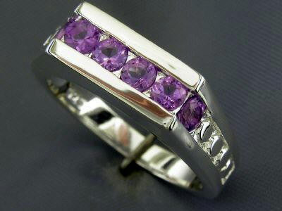 Sterling Silver Amethyst Ring 6 Round Cut .50ct Amethyst Ring  Size 7