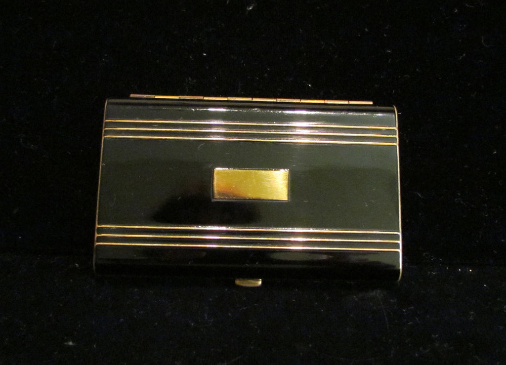 Hudnut Black Enamel Compact Art Deco Gold Powder Makeup