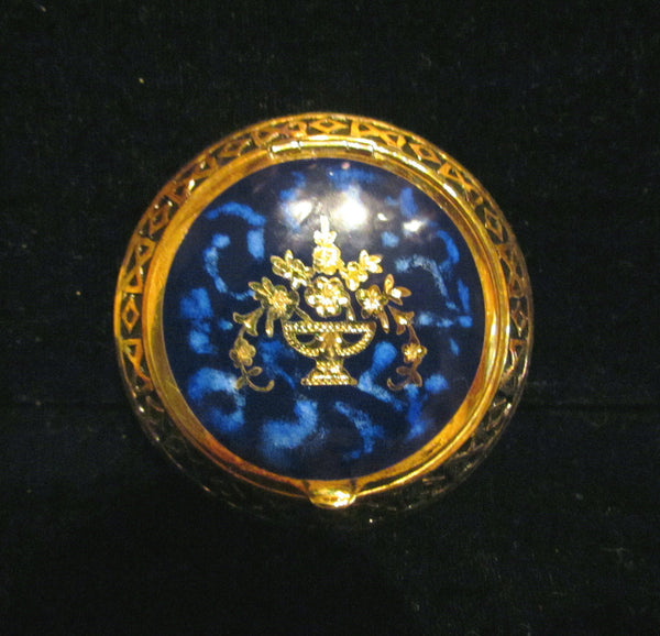 1930s Blue Guilloche Compact Gold Gilt Powder Rouge Mirror Compact Unused Excellent Condition