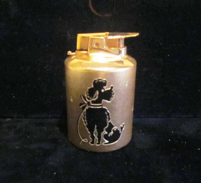 1950s Poodle Lighter Varaflame Dog Table Lighter Gold Working