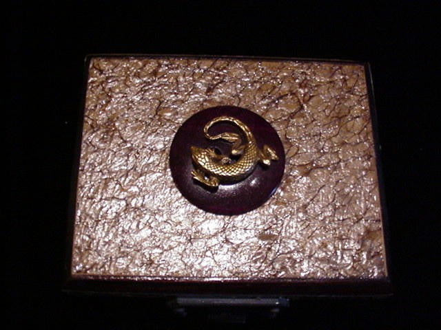 Steampunk Handmade Wooden Jewelry Trinket Box OOAK Lizard Gift Box