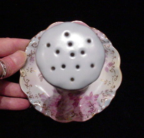 Victorian RS Hatpin Holder Vintage Stickpin Holder Porcelain Hat Pin Holder Ring Dish
