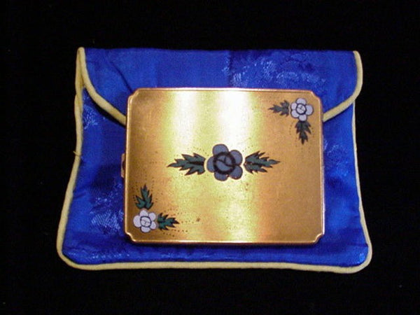 1930s Gold Floral Enamel Powder & Mirror Makeup Compact