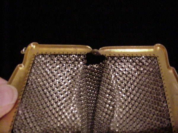 Antique Mandalian Mesh Purse Vintage Enamel Flapper Art Deco Bag