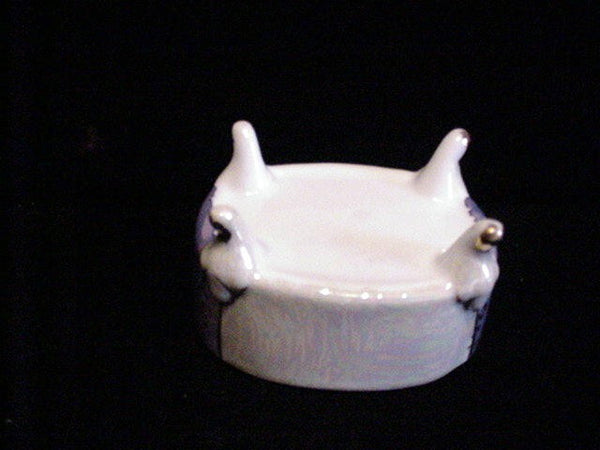 Victorian Lusterware Porcelain Powder Jar Vintage Ceramic Jewelry Box Trinket Box