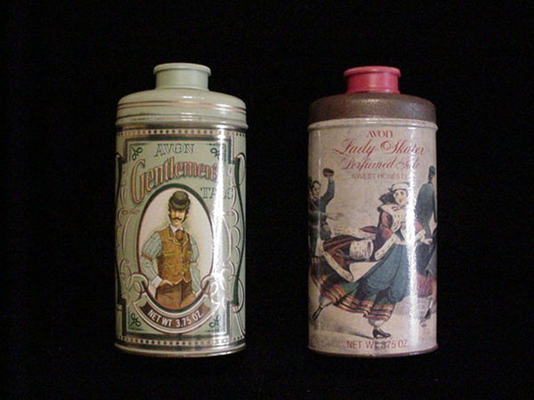 Vintage Avon Powder Tin His & Hers Set Of 2 Tins Excellent Condition