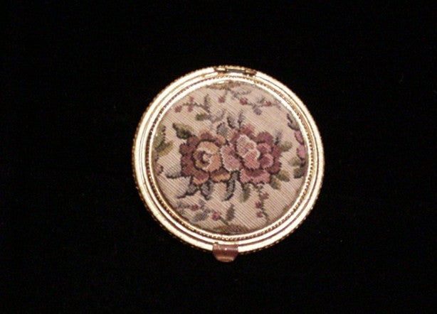 Vintage Tapestry Powder Compact 1930's Petit Point Mirror Compact