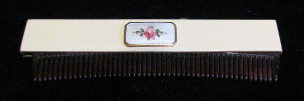 1922 Guilloche Enamel Comb B & B Co Vintage Retractable Ladies Comb Art Deco Comb