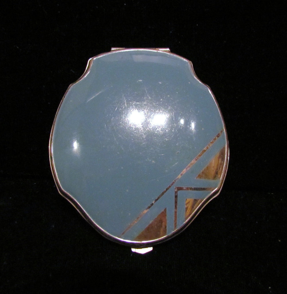 1940s Silver And Blue Enamel Compact Art Deco Elgin American Mirror Powder Compact