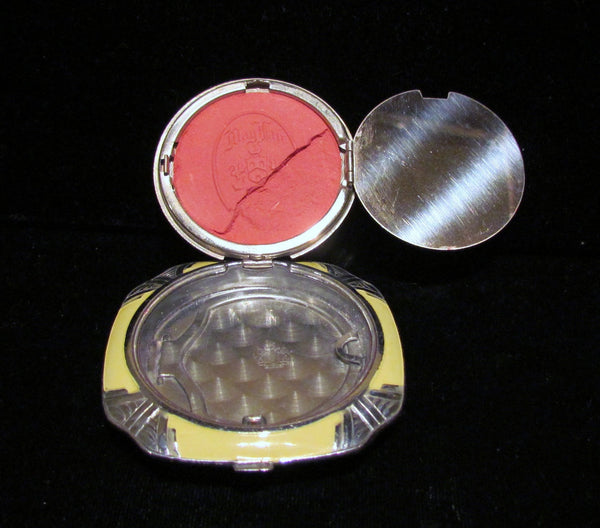 Evans Art Deco Sterling Silver & Guilloche 1930's Powder Mirror & Rouge Compact