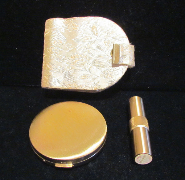 1940s DuBarry Powder & Lipstick Compact Purse Metallic Case