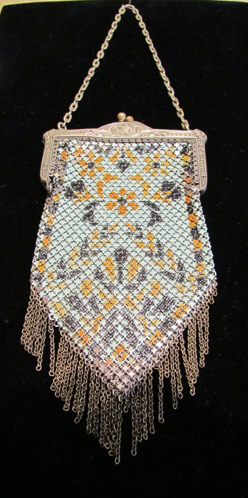 Art Deco Mandalian Enamel Mesh Purse 1920's Flapper Evening Bag MANDALIAN Mfg Co