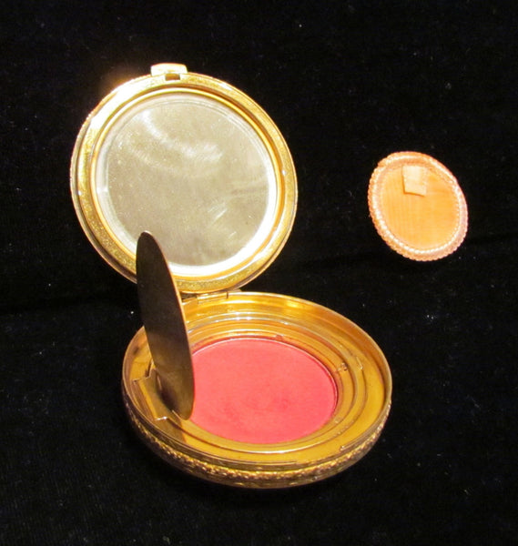La Mode Guilloche Compact 1930's Powder Rouge & Mirror Compact