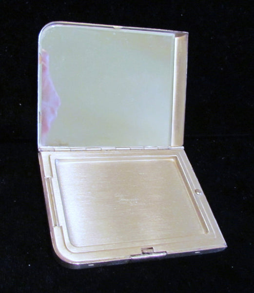 Sterling Silver Compact 1940s Elgin American Art Deco Powder Mirror Compact Gorgeous