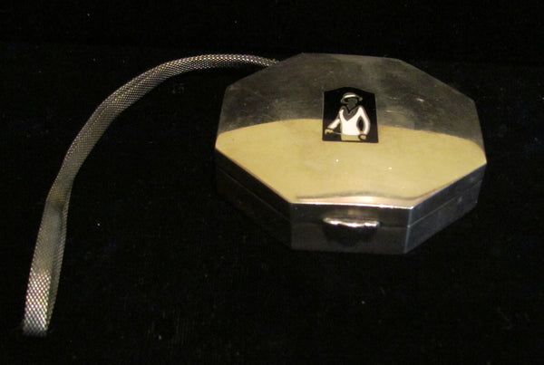 Golfing Flapper Sterling Silver Compact Purse Art Deco 1920's Dance Purse Extremely Rare