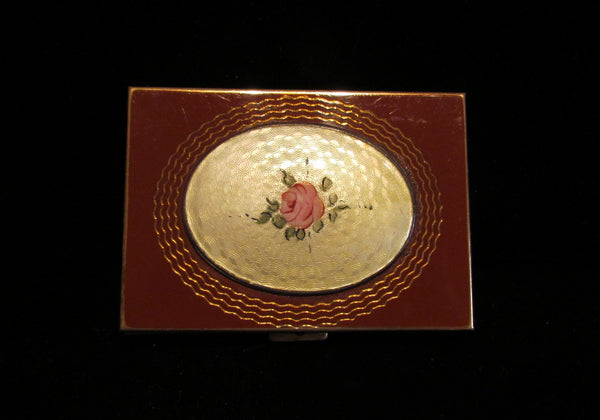 1930s Guilloche Enamel Sheilds Compact Powder Rouge And Mirror Art Deco Compact