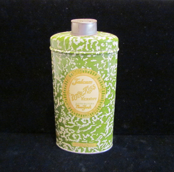 1920s Djer Kiss Powder Tin Kerkoff Talcum Powder Tin