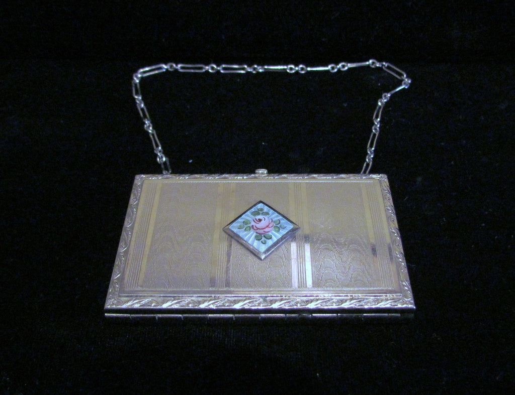 Edwardian Guilloche Compact Wristlet Purse 1910s Powder Mirror Dance Compact