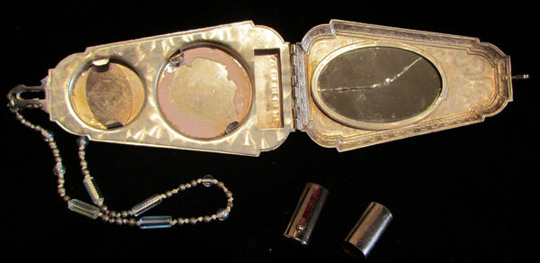 Victorian Compact Dance Purse OOAK Beaded Wristlet Vintage Powder Rouge Mirror