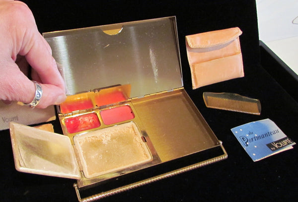 Volupte Portmanteau Compact Purse 1950s Powder Mirror & Cigarette Case