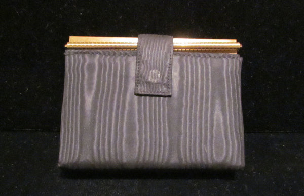 Volupte Carryall Compact Purse 1950s Powder Compact Gold & Moire Case