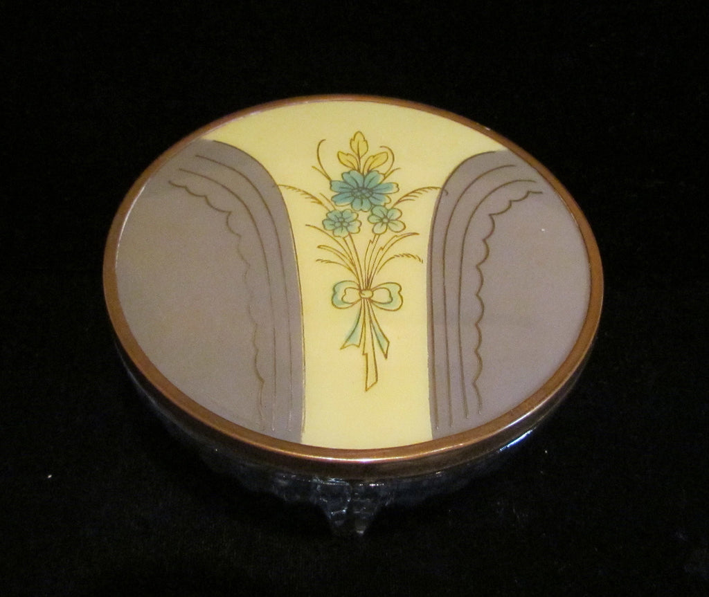 Art Deco Powder Jar 1940s Celluloid & Glass Powder Box In Excellent Condition