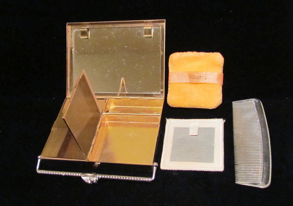 1950s Volupte Gold Rhinestone Compact Purse Black Moire Case Unused In Original Box