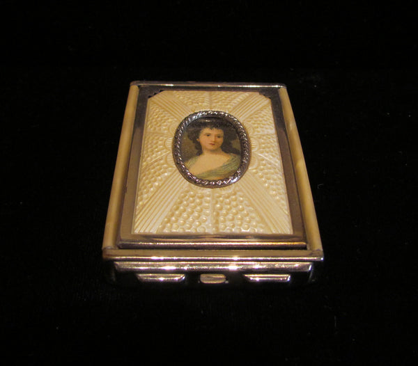 1930s Girey Cameo Portrait Compact Vintage Powder Rouge And Mirror Mint Condition