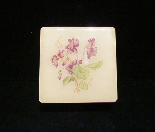Alabaster Italian Hand Craved Box Hand Painted Purple Flowers Vintage Trinket Or Jewelry Box