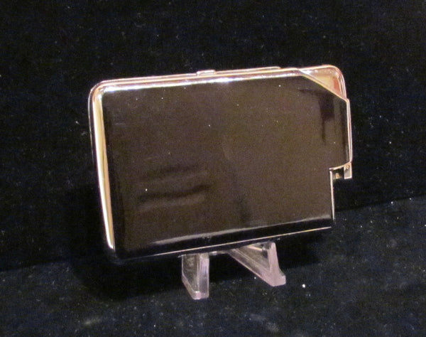 Vintage Black Enamel Compact Cigarette Case Lighter By Marathon Working