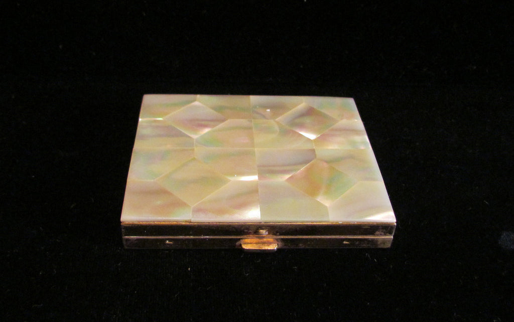 1940's Mother Of Pearl Powder Mirror Compact MOP