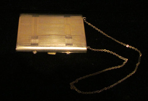 1910's Silver Compact Purse Sapphire Clasp Antique Dance Purse Rare