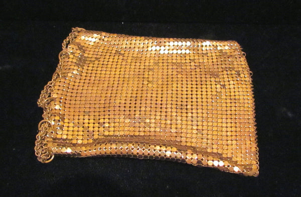 1930s Gold Mesh Coin Purse Art Deco Change Purse Vintage Drawstring Bag