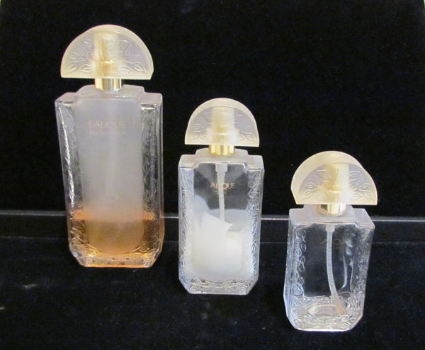 Lalique Perfume Bottles 3 Vintage Glass Bottles Fragrance Frosted Bottles