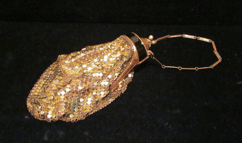 Whiting And Davis Gold Mesh Enamel Purse 1920s Evening Bag Art Deco Purse